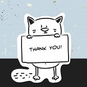 picture of placard  - Cute cat holding a placard - JPG