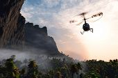 picture of helicopter  - Civilian helicopter  over the island - JPG