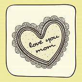 pic of i love you mom  - Vintage greeting card with floral decorated heart shape and text Love You Mom for Happy Mother - JPG