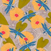 picture of dragonflies  - Beautiful seamless background with dragonfly flowers and leaves for design - JPG