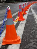 Traffic Cones On A Dual Carriageway