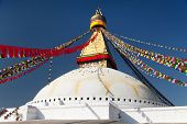 stock photo of nepali  - view of Boudhanath stupa  - JPG