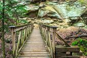 image of cross hill  - Bridge along a hiking trail located in the Rock House area of Hocking Hills State Park - JPG