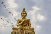 image of budha  - Big Golden Buddha statue in Thailand temple stock photo - JPG