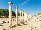 stock photo of greeks  - Row of Columns in the ruins of ancient Greek city of Ephesus - JPG