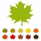 stock photo of canada maple leaf  - Stylized pixelated maple leaf as Canada symbol icon - JPG