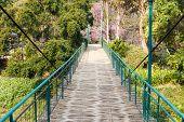 foto of suspension  - wooden suspension bridge across the river in rural thailand - JPG