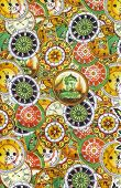 stock photo of batik  - Closeup beautiful colorful detail pattern of batik fablic background - JPG
