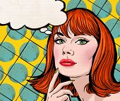 pic of bubbles  - Pop Art illustration of girl with the speech bubble - JPG