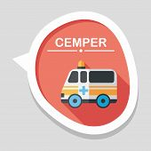picture of ambulance  - Ambulance Car Flat Icon With Long Shadow - JPG