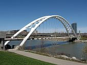 stock photo of calatrava  - Beautiful Humber Bay Arch Bridge on bank of lake Ontario in Toronto Canada - JPG