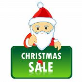picture of letters to santa claus  - Cute santa claus with a notice board containing christmas sale letters  - JPG