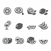 pic of fruit-juice  - Lemon lime icons  vector set  juice - JPG