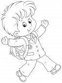 stock photo of schoolboys  - Joyful schoolboy with his schoolbag running and waving his hands - JPG