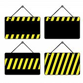 pic of sign board  - A set of black signs with yellow stripes - JPG