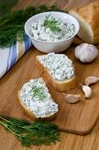 picture of curd  - Slices of baguette with cottage cheese parsley garlic on a cutting board - JPG