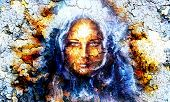 image of mystical  - mystic face women with structure crackle background effect with star on forehead collage - JPG