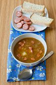 foto of sausage  - Lentil soup with sausages and potatoes - JPG