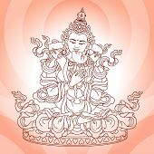image of tantra  - divine couple in love on a pink background - JPG