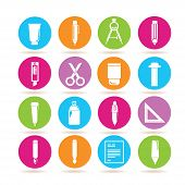 picture of marker pen  - set of 16 stationery supply icons - JPG