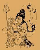 image of shakti  - Indian god Ganesha on a beige background - JPG