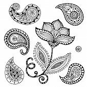 stock photo of henna tattoo  - Henna Paisley Mehndi Doodles Abstract Floral Vector Illustration Design Element - JPG