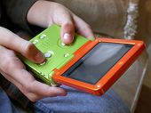 Boy And Handheld Video Game Close Up