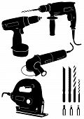 Vector illustration set of 4 different power tools.