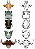 Vector set of cartoon wild or zoo animals.