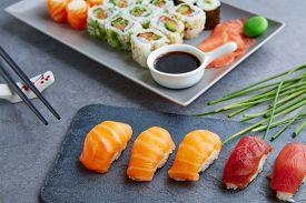foto of soy sauce  - Sushi Maki and Niguiri California roll soy sauce and wasabi - JPG