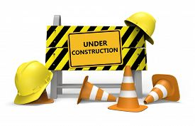 pic of safety barrier  - 3d illustration of under construction barrier over white background - JPG