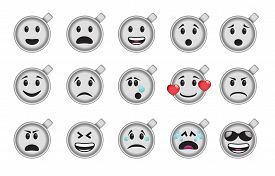 picture of angry smiley  - Set of smiley coffee cup icons in different emotions and moods - JPG