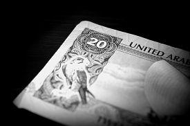 picture of dirham  - Banknote in twenty dirhams of the United Arab Emirates close up - JPG