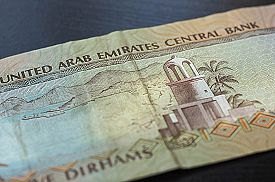 picture of dirhams  - Banknote of the United Arab Emirates in five dirhams close up - JPG