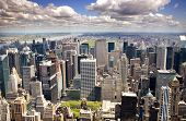 stock photo of new york skyline  - An aerial view of Upper Manhattan - JPG
