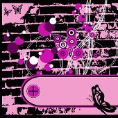 Background with grunge banners Brick wall and a butterfly