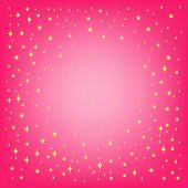 Festive background for your design. Star and snowflakes on the pink background with effect vignetting. JPG (See Vector  Also In My Portfolio)