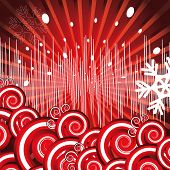 Raster version. Holiday background. Decor with rays, EQ, snowflakes and spirals on a red background.