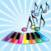 picture of rainbow piano  - Musical theme  - JPG