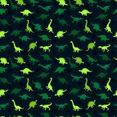 Cute Kids Pattern For Girls And Boys. Colorful Dinosaurs On The Abstract Grunge Background Create A poster