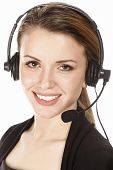 Beautiful Customer Service Operator weiblich mit Headset, isolated on white background