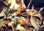 Children Eating Turkey Thanksgiving Celebration Concept poster
