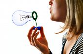 woman with soap lamp bulb bubble on white