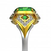 picture of peridot  - 3d rendering of a peridot ring on white bacground - JPG