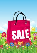 Shopping bags with spring flowers.Vector illustration