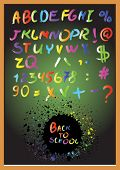 Alphabet, numbers, plaque on a black background. Vector illustration