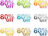 Eighty percent off sales reduction marketing announcement sticker