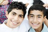 stock photo of muslim kids  - Portrait of two kids and best friends - JPG