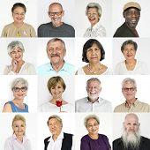 Set of Diversity Senior Adult People Face Expression Studio Collage poster
