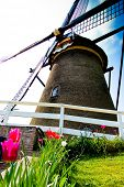Close-up of a old fashioned windmill in the Dutch countryside